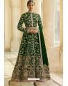 Dark Green Velvet Beautiful Embroidered Anarkali Suit