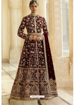 Maroon Velvet Beautiful Embroidered Anarkali Suit
