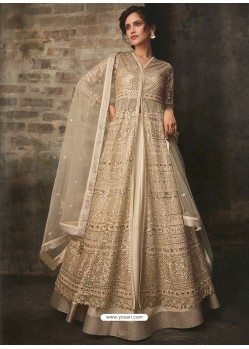 Light Beige Net And Art Silk Designer Anarkali Suit