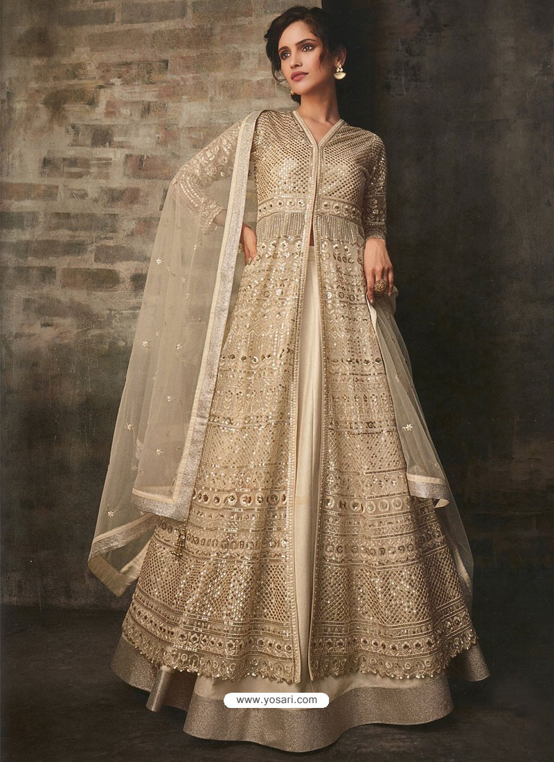 Light Beige Net And Art Silk Designer Anarkali Suit
