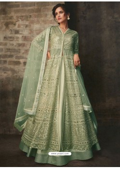 Green Net And Art Silk Designer Anarkali Suit