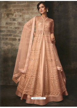 Peach Net And Art Silk Designer Anarkali Suit