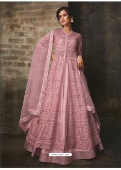 Pink Net And Art Silk Designer Anarkali Suit