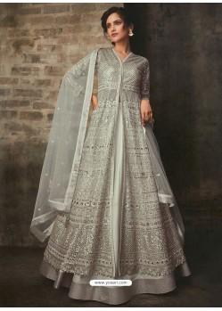 Grayish Green Net And Art Silk Designer Anarkali Suit