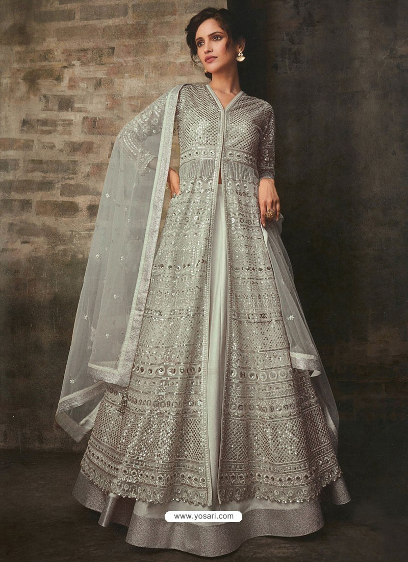Grayish Green Net And Art Silk Designer Anarkali Suit