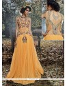 Sunshine Embroidered Work Net Brasso Mustard Designer Gown