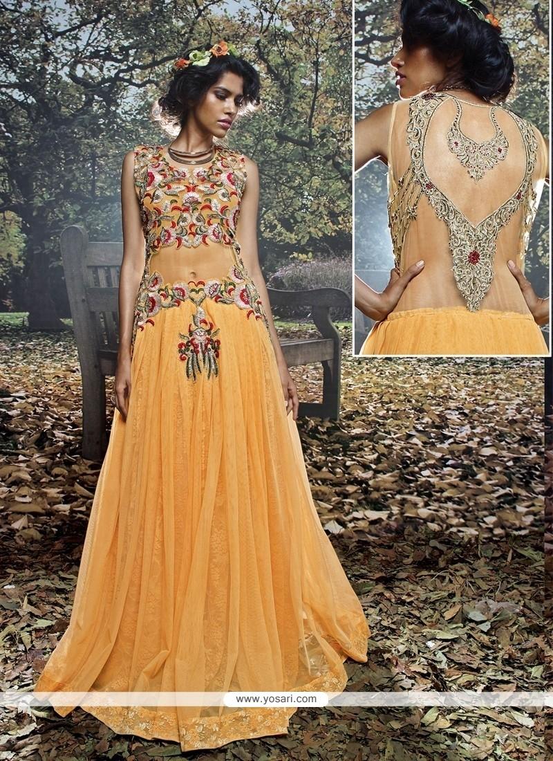 Sunshine Embroidered Work Net Brasso Mustard Designer Gown