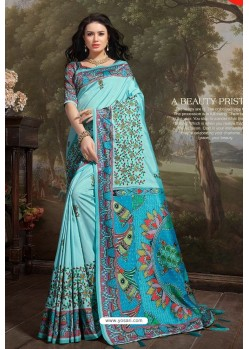 Sky Blue Madhu Silk Printed Saree