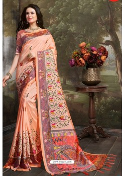 Light Orange Madhu Silk Printed Saree