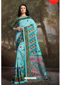 Aqua Blue Madhu Silk Printed Saree