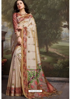Cream Madhu Silk Printed Saree