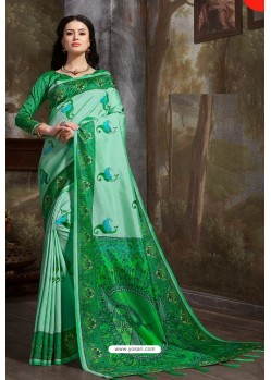 Jade Green Madhu Silk Printed Saree