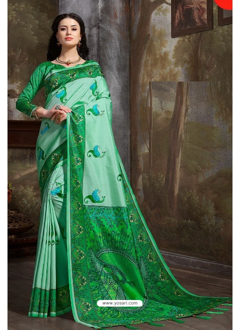 Jade Green Madhu Silk Printed Saree
