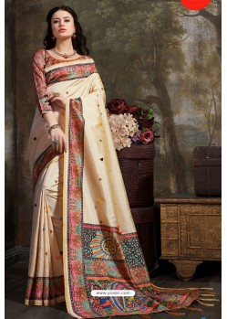Cream Madhu Silk Printed Saree