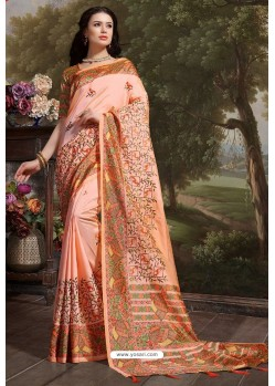 Peach Madhu Silk Printed Saree