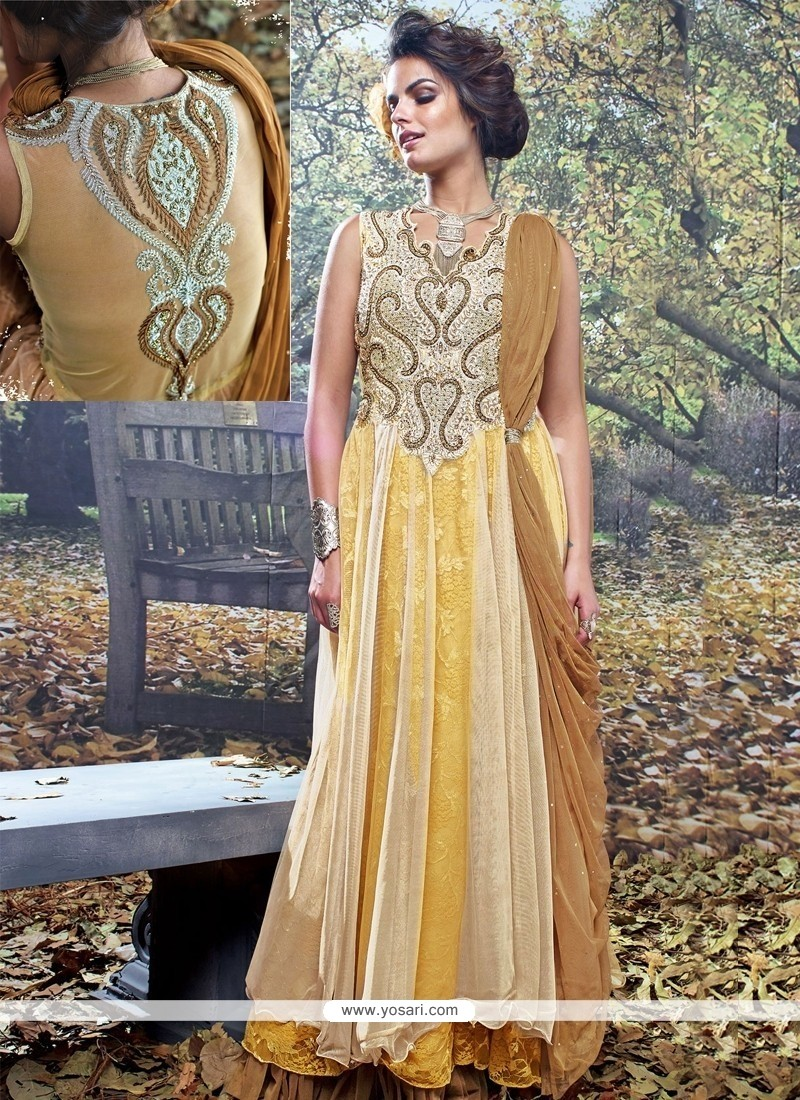 Blooming Cream And Brown Net Brasso Designer Gown