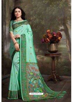 Pleasant Jade Green Madhu Silk Printed Saree