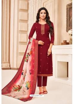 Maroon Maslin Silk Diamond Worked Straight Suit
