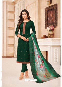 Dark Green Maslin Silk Diamond Worked Straight Suit