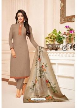 Beige Maslin Silk Diamond Worked Straight Suit