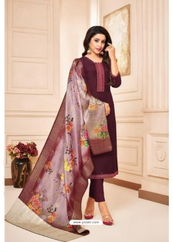 Deep Wine Maslin Silk Diamond Worked Straight Suit