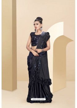 Black Lycra Thread And Moti Worked Saree