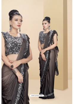 Coffee Lycra Thread And Moti Worked Saree