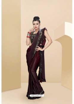 Wine Lycra Thread And Moti Worked Saree