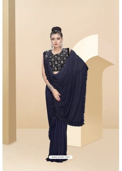 Navy Blue Lycra Thread And Moti Worked Saree