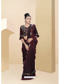 Stylish Maroon Lycra Thread And Moti Worked Saree