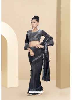Marvelous Grey Lycra Thread And Moti Worked Saree