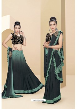 Dark Green Lycra Thread And Moti Worked Saree