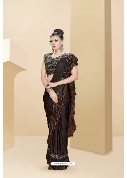 Classy Coffee Lycra Thread And Moti Worked Saree