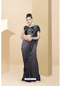 Pretty Grey Lycra Thread And Moti Worked Saree