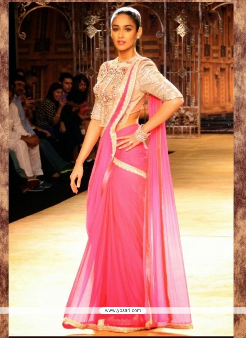 Ileana D'cruz Georgette Lace Work Bollywood Saree