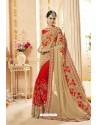 Beige And Red Faux Georgette Net Heavy Embroidered Bridal Saree