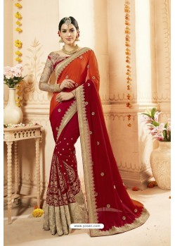 Red Faux Georgette Net Heavy Embroidered Bridal Saree