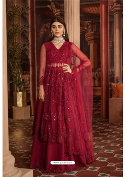Red Heavy Net Embroidered Designer Anarkali Suit