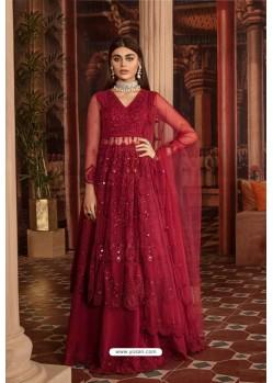 Red Heavy Net Embroidered Designer Anarkali Suit