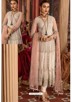 Off White Heavy Net Embroidered Designer Anarkali Suit