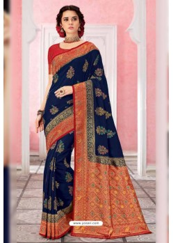 Navy Blue Patola Silk Jacquard Worked Party Wear Saree