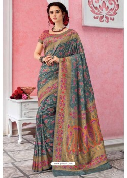 Grey Patola Silk Jacquard Worked Party Wear Saree
