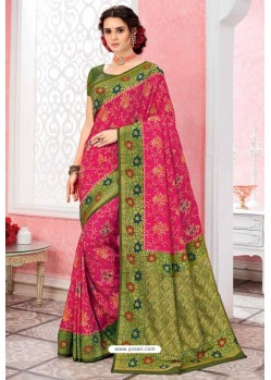 Rani Patola Silk Jacquard Worked Party Wear Saree