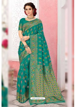 Beautiful Aqua Mint Patola Silk Party Wear Saree