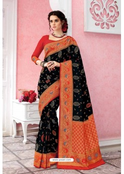 Black Patola Silk Jacquard Worked Party Wear Saree