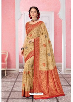 Beige Patola Silk Jacquard Worked Party Wear Saree