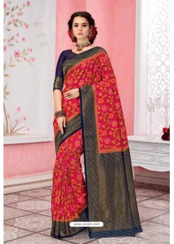 Red Patola Silk Jacquard Worked Party Wear Saree