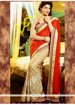 Jacqueline Fernandez Georgette Resham Work Red And Beige Bollywood Saree