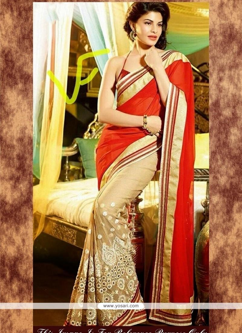 Jacqueline Fernandez Georgette Resham Work Red And Beige Bollywood Saree