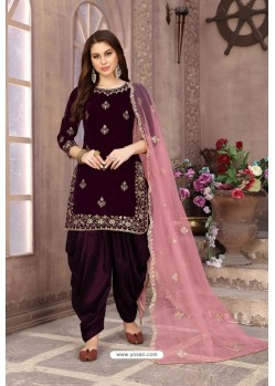 Deep Wine Velvet Heavy Embroidered Salwar Suit